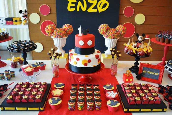 Kara S Party Ideas Mickey Mouse 1st Birthday Party Via