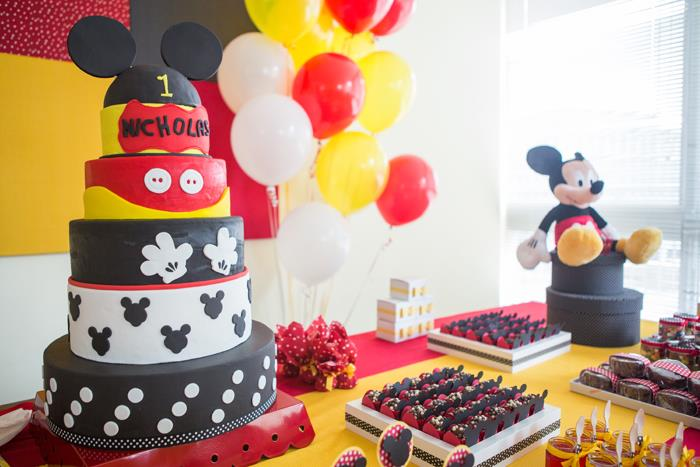 Mickey Mouse Birthday Decor Ideas Image Inspiration of Cake and