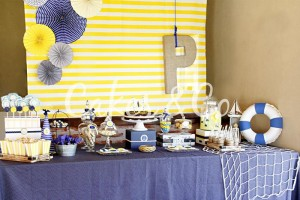 Yellow and Blue Nautical 1st Birthday Party via Kara's Party Ideas | Kara'sPartyIdeas.com #Sailboat #Sailor #PartyIdeas #Supplies (9)