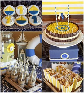 Yellow and Blue Nautical 1st Birthday Party with Lots of CUTE Ideas via Kara's Party Ideas | Kara'sPartyIdeas.com #Sailboat #Sailor #PartyIdeas #Supplies (1)