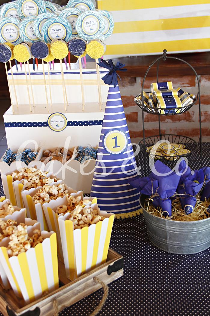 Kara's Party Ideas Yellow and Blue Nautical 1st Birthday ...