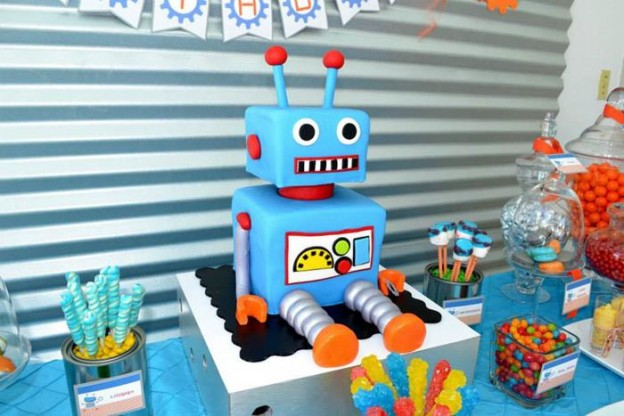 Robot Party via Kara's Party Ideas | Kara'sPartyIdeas.com #Robot #Science #Ideas #Supplies #Cake (18)