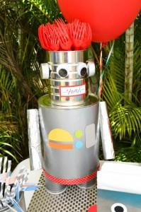 Robot Party via Kara's Party Ideas | Kara'sPartyIdeas.com #Robot #Science #Ideas #Supplies #Cake (7)