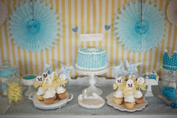 Vintage Yellow and Blue Birthday Party via Kara's Party Ideas Kara'sPartyIdeas.com #VintagePartyIdeas #Supplies #Boy #1stBirthdayParty (9)