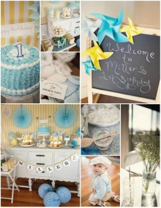 Vintage Yellow and Blue Birthday Party with SO MANY Cute Ideas via Kara's Party Ideas Kara'sPartyIdeas.com #VintagePartyIdeas #Supplies #Boy #1stBirthdayParty (1)
