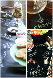 """Scribble Linens"" Reversible Chalkboard Tablecloths via Kara's Party Ideas #ScribbleLinens #Chalkboard #ChalkboardTable #Tablecloth #RemovableChalkboard"