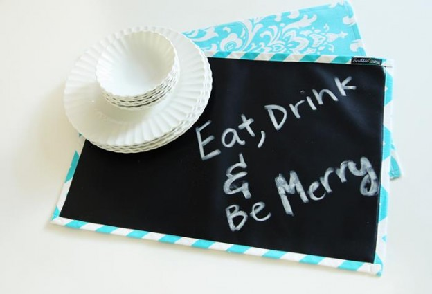 """Scribble Linens"" Reversible Chalkboard Tablecloths via Kara's Party Ideas #ScribbleLinens #Chalkboard #ChalkboardTable #Tablecloth #RemovableChalkboard (23)"