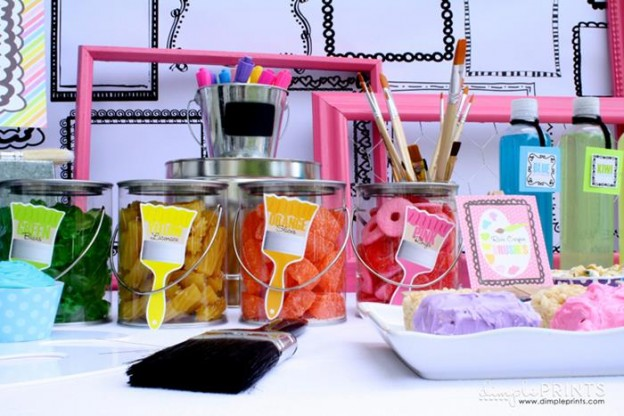 Girly Art Party With So Many Cute Ideas via Kara's Party Ideas | KarasPartyIdeas.com #Artist #Painting #Bright #Party #Ideas #Supplies (23)