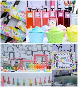 Girly Art Party With So Many Cute Ideas via Kara's Party Ideas | KarasPartyIdeas.com #Artist #Painting #Bright #Party #Ideas #Supplies (1)