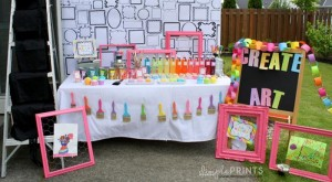 Girly Art Party With So Many Cute Ideas via Kara's Party Ideas | KarasPartyIdeas.com #Artist #Painting #Bright #Party #Ideas #Supplies (5)