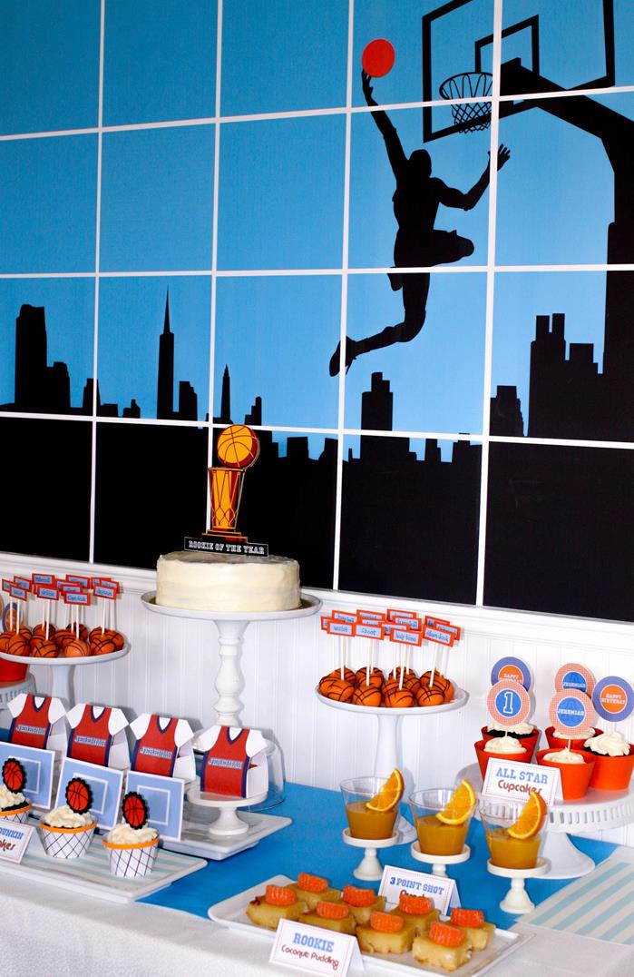 Kara 39 s party ideas basketball themed 1st birthday party for Basketball craft party ideas