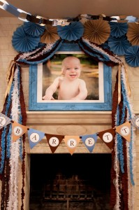 Blue and Brown Boy's 1st Birthday Party with Lots of Cute Ideas via Kara's Party Ideas KarasPartyIdeas.com #Boy #Party #Ideas #Supplies (12)