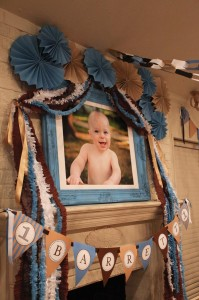 Blue and Brown Boy's 1st Birthday Party with Lots of Cute Ideas via Kara's Party Ideas KarasPartyIdeas.com #Boy #Party #Ideas #Supplies (2)