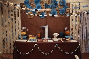 Blue and Brown Boy's 1st Birthday Party with Lots of Cute Ideas via Kara's Party Ideas KarasPartyIdeas.com #Boy #Party #Ideas #Supplies (10)