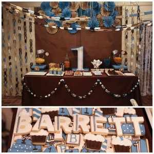 Blue and Brown Boy's 1st Birthday Party with Lots of Cute Ideas via Kara's Party Ideas KarasPartyIdeas.com #Boy #Party #Ideas #Supplies (1)