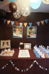 Blue and Brown Boy's 1st Birthday Party with Lots of Cute Ideas via Kara's Party Ideas KarasPartyIdeas.com #Boy #Party #Ideas #Supplies (9)