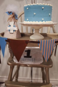 Blue and Brown Boy's 1st Birthday Party with Lots of Cute Ideas via Kara's Party Ideas KarasPartyIdeas.com #Boy #Party #Ideas #Supplies (5)