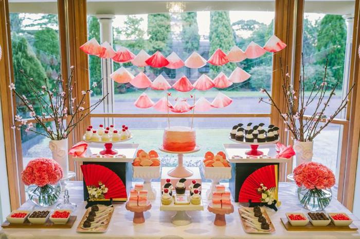 Nice Japanese Dinner Party Ideas Part - 6: Karau0027s Party Ideas Japanese Birthday Party Planning Ideas Supplies Idea  Ombre Cake Decor