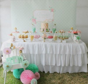 Mint, Pink, and Gold Tea Party with So Many Really Cute Ideas via Kara's Party Ideas | KarasPartyIdeas #BridalShower #Party #Ideas #Supplies (12)
