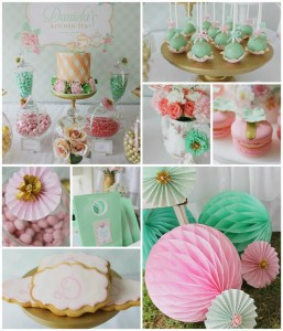 Mint, Pink, and Gold Tea Party with So Many Really Cute Ideas via Kara's Party Ideas | KarasPartyIdeas #BridalShower #Party #Ideas #Supplies (1)