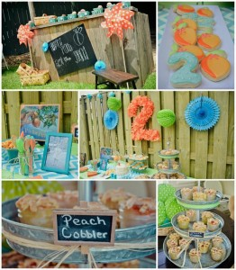 Peach Stand 2nd Birthday Party with DARLING IDEAS via Kara's Party Ideas | Kara'sPartyIdeas.com #Peaches #Harvesting #Summer #PartyIdeas #Supplies (2)