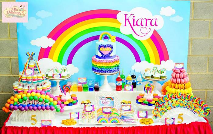 Karas Party Ideas Girly Rainbow 5th Birthday Party with Tons of