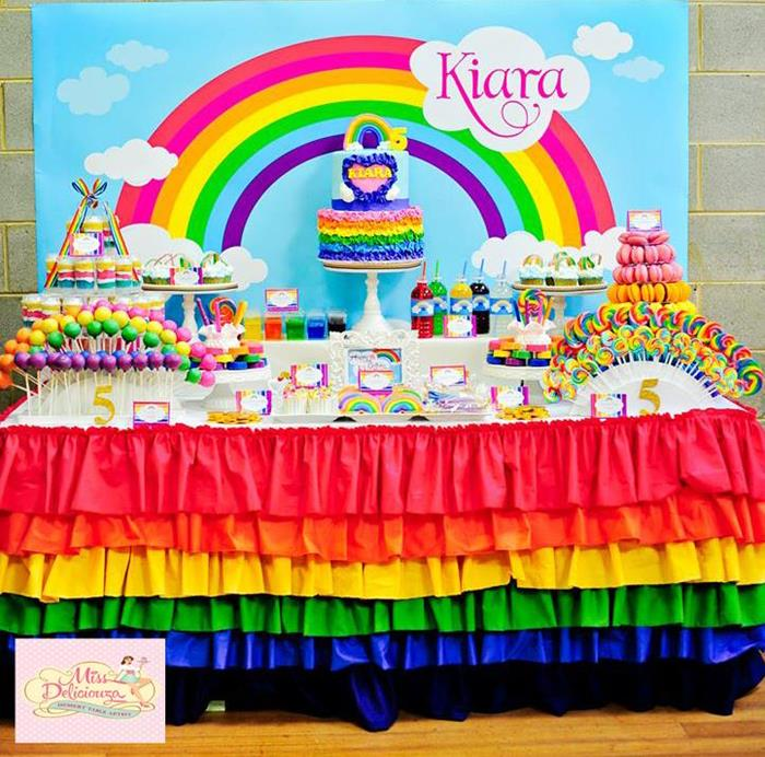 Kara 39 s party ideas girly rainbow 5th birthday party with for 5th birthday decoration ideas