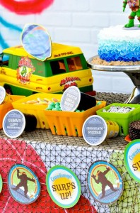 Retro Surfing Ninja Turtle Themed End of Summer Party with Totally Awesome IDEAS via Kara's Party Ideas | KarasPartyIdeas.com #TMNT #Cowabunga #NijaTurtles #PizzaParty #Party #Ideas #Supplies (70)
