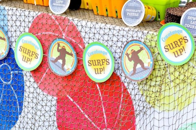 Retro Surfing Ninja Turtle Themed End of Summer Party with Totally Awesome IDEAS via Kara's Party Ideas | KarasPartyIdeas.com #TMNT #Cowabunga #NijaTurtles #PizzaParty #Party #Ideas #Supplies (68)