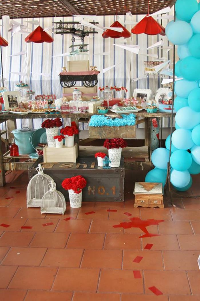 Kara 39 s party ideas vintage airplane baby shower with so for Airplane party decoration ideas