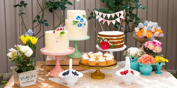 Garden Baby Shower Ideas cake table from a garden party baby shower via karas party ideas karaspartyideascom Garden Baby Shower