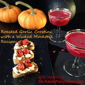 Roasted Garlic Crostini with a Wicked Mocktail Recipes via Kara's Party Ideas | KarasPartyIdeas.com #HalloweenDrinkIdeas #HalloweenRecipes (1)
