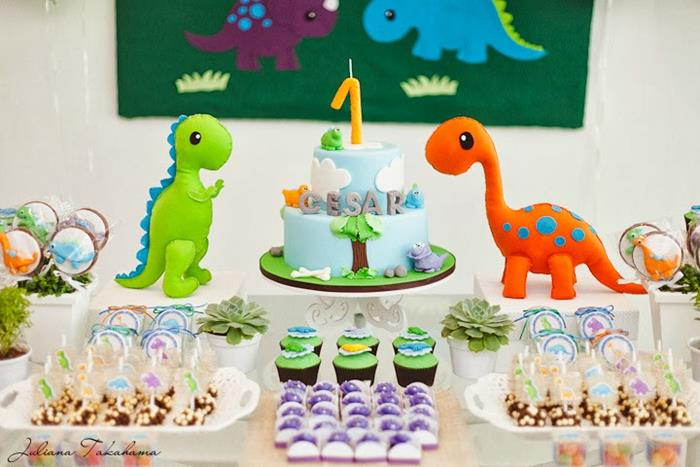 Dinosaur Themed Birthday Party Girl Image Inspiration of Cake and