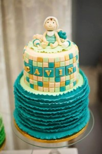 Mint, Aqua and Gold Christening with Lots of Really Cute Ideas via Kara's Party Ideas | KarasPartyIdeas.com #BoyChristeningParty #PartyIdeas #Supplies (11)