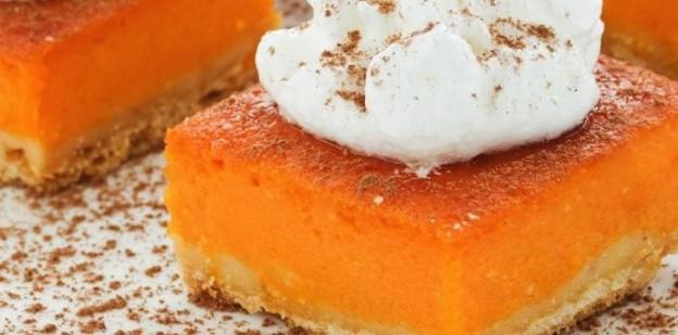 Super yummy and easy PUMPKIN GINGER BARS Recipe! Via Kara's Party Ideas | KarasPartyIdeas.com #thanksgiving #holidayrecipes #pumpkingingerbars #pumpkinbars #pumpkinpie 2