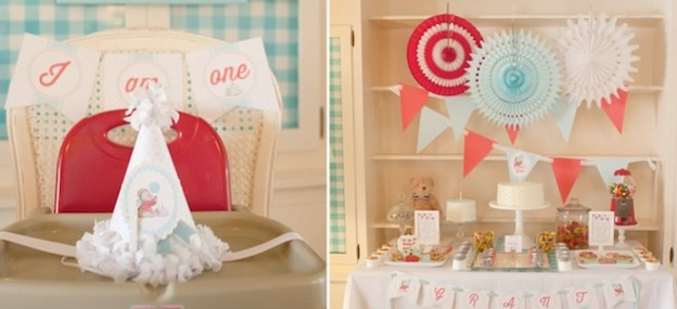 Vintage teddy bear themed 1st birthday party via Kara's Party Ideas KarasPartyIdeas.com