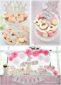 Shabby Chic Bunny Themed 1st Birthday Party with SUCH CUTE IDEAS via Kara's Party Ideas | KarasPartyIdeas.com #BunnyParty #PartyIdeas #Supplies (1)