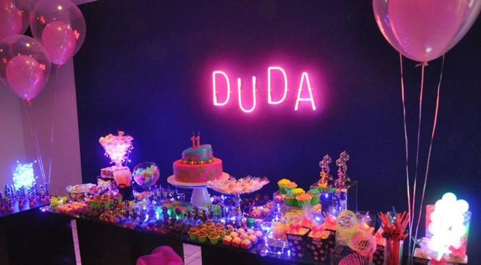 Karas Party Ideas Neon Themed Tween Party with Lots of