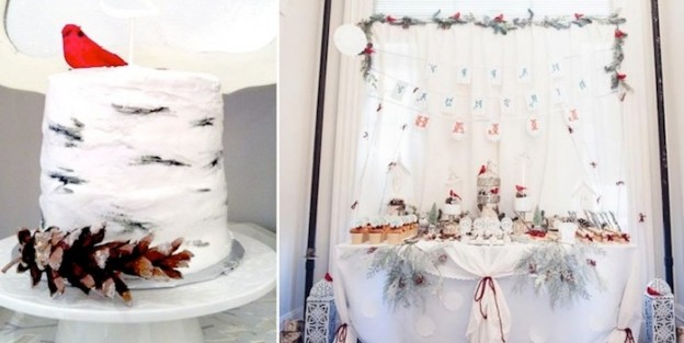 Birch Wood and Birdies Woodland Winter Wonderland Birthday Party with so many adorable ideas! Via KarasPartyIdeas.com #hotchocolatebar #winterwonderland #birchwood #birthdayparty