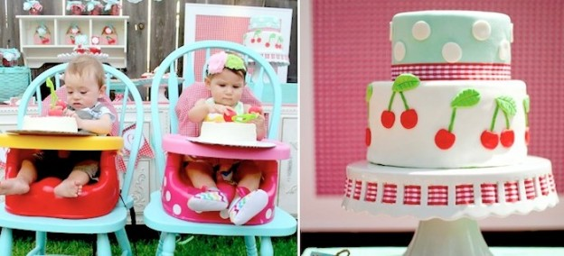 Cherry on Top themed birthday party! Via Kara's Party Ideas KarasPartyIdeas.com Adorable! #cherrycupcakes #cherryparty