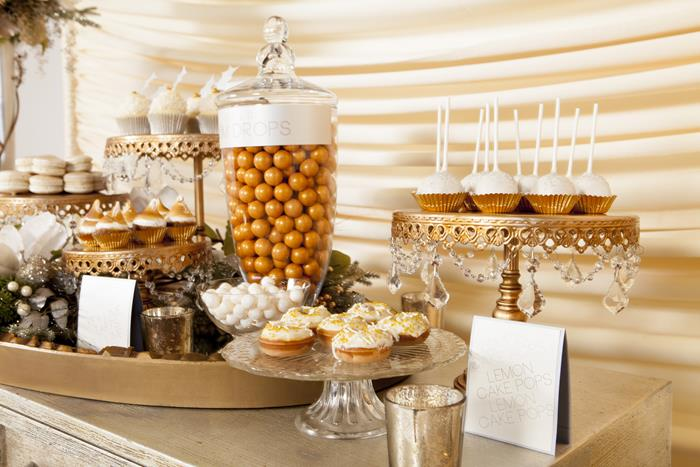 Kara S Party Ideas Metallic Holiday Dessert Table With