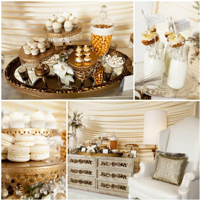 Kara S Party Ideas 187 Metallic Holiday Dessert Table With