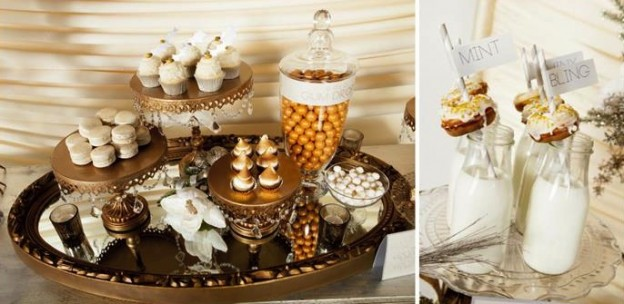 metallic holiday christmas new years dessert table via Kara's Party Ideas KarasPartyIdeas.com
