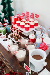 """Jingle All the Way"" Christmas Hot Cocoa Bar with So Many Really Cute Ideas via Kara's Party Ideas KarasPartyIdeas.com #HotCocoaBar #HotChocolate #ChristmasParty #NorthPoleParty (9)"