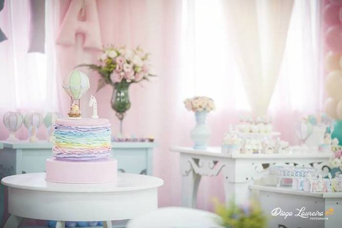 Kara S Party Ideas Pastel Rainbow Hot Air Balloon Party