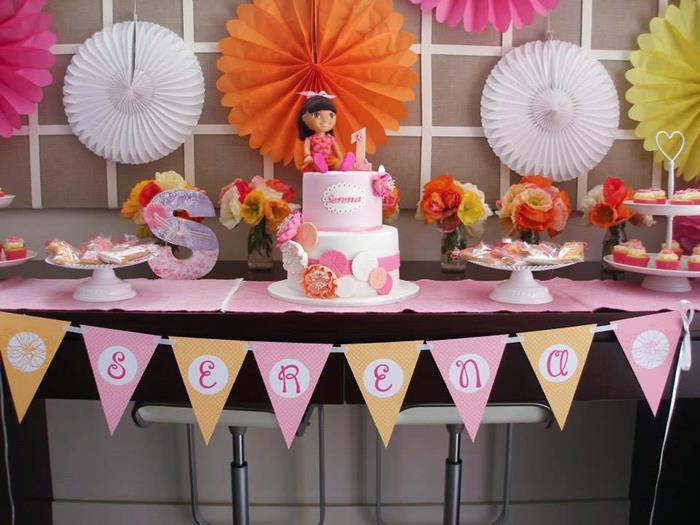 Kara S Party Ideas Dora The Explorer Modern Girl Birthday Party