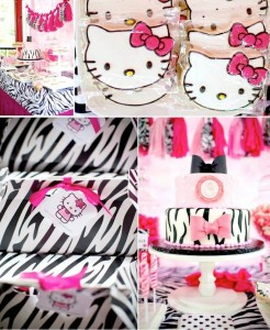 Hello Kitty Pink Zebra themed birthday party with Lots of Really Cute Ideas via Kara's Party Ideas Kara Allen KarasPartyIdeas.com #HelloKitty #PinkZebraParty #PartyIdeas #Supplies (2)