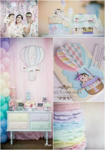 Pastel Rainbow Hot Air Balloon Party via Kara's Party Ideas KarasPartyIdeas.com #RainbowParty #HotAirBalloon #PartyIdeas #PartySupplies