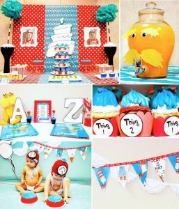 Thing 1 and Thing 2 twin themed birthday party via Kara's Party Ideas KarasPartyIdeas.com Dr Seuss Party Ideas #DrSeuss #PartyIdeas #Supplies (4)