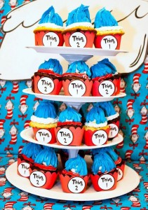 Thing 1 and Thing 2 twin themed birthday party via Kara's Party Ideas KarasPartyIdeas.com Dr Seuss Party Ideas #DrSeuss #PartyIdeas #Supplies (3)